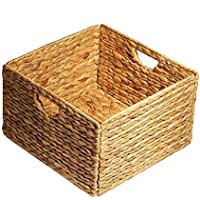 保管バスケット コンテナ   天然水ヒヤシンス 長方形 収納ケース 収納ボックス 金属フレーム 織りストローバスケットフレーム(33.5 x 33.5 x 20cm)