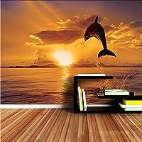 Xbwy イルカ跳躍海夕焼け夕暮れ動物の壁紙壁画ロールスロイス3D壁の壁紙3D用リビングルーム壁紙-280X200Cm