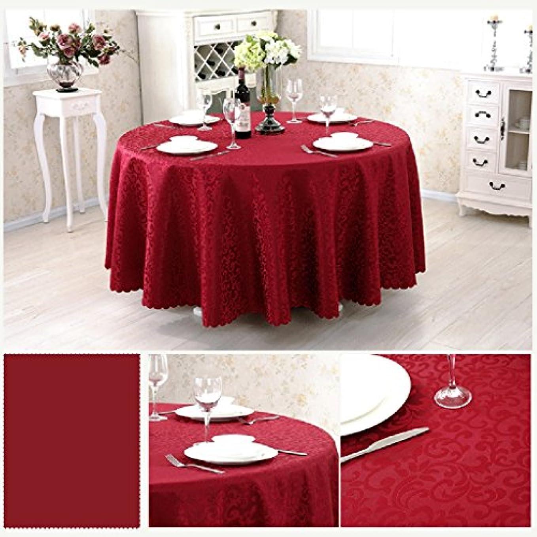 降ろす遠足狭いHAPzfsp テーブルクロス ラウンド化学繊維テーブルクロスヨーロッパスタイルのコーヒーテーブルレストランホテルテーブルクロス幾何学模様様々なサイズ様々な色(62インチ/ 160 cm-125インチ/ 320 cm) パティオ、キッチン、ダイニングルーム、ダイニングテーブル、ホテル (Color : Wine red, Size : Round 200cm)