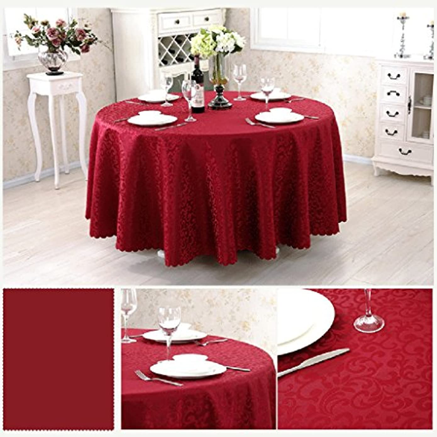 リル何十人もメッセンジャーHAPzfsp テーブルクロス ラウンド化学繊維テーブルクロスヨーロッパスタイルのコーヒーテーブルレストランホテルテーブルクロス幾何学模様様々なサイズ様々な色(62インチ/ 160 cm-125インチ/ 320 cm) パティオ、キッチン、ダイニングルーム、ダイニングテーブル、ホテル (Color : Wine red, Size : Round 240cm)