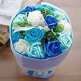 フレグランス ソープフラワー シャボンフラワー 花束 ローズブーケ FPP-809 (ブルー)