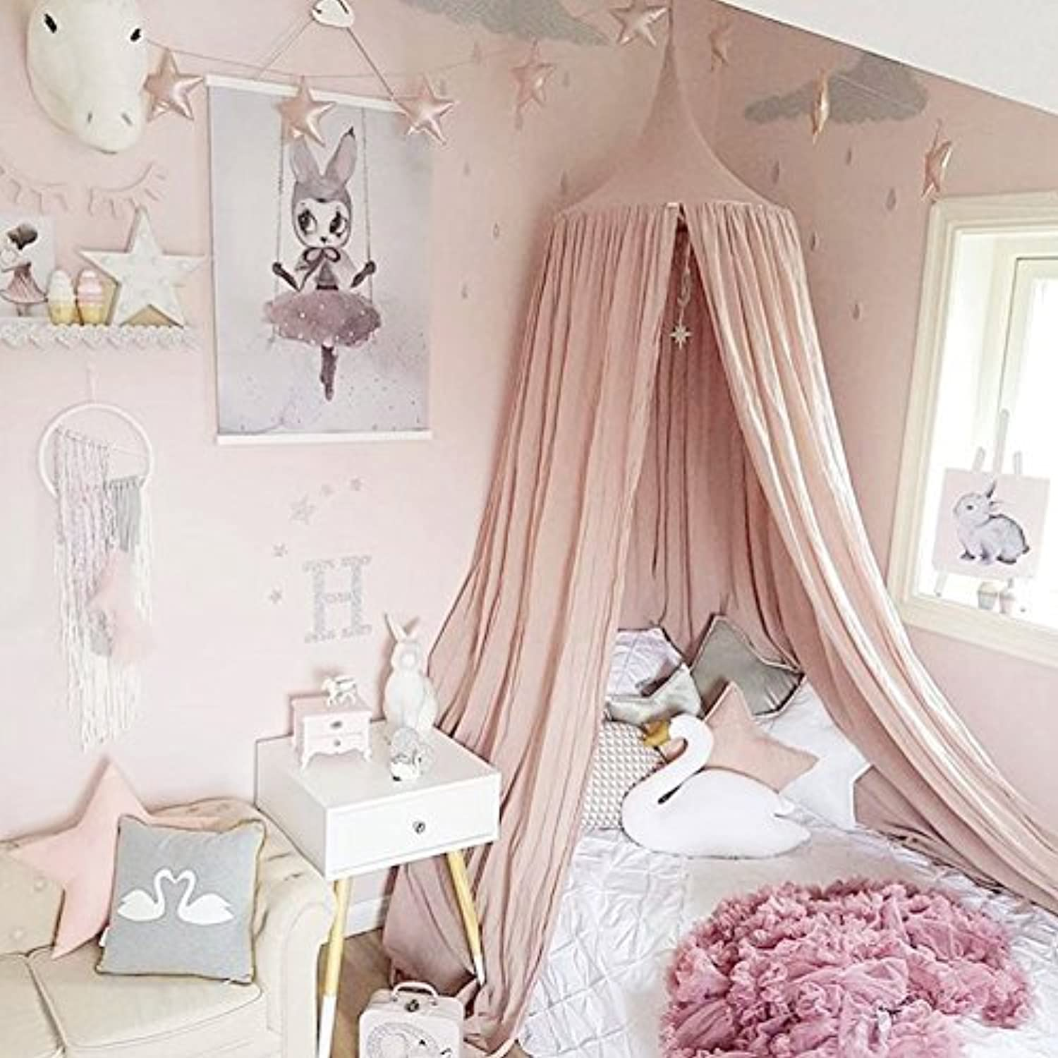 Princess Bed Canopy Mosquito Net for Kids Baby Crib Round Dome Kids Indoor Outdoor Castle Play Tent Hanging House Decoration Reading nook Cotton Canvas Height 240cm / 94.9 inch (Princess Pink) [並行輸入品]