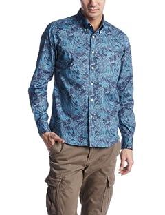 Liberty Camouflage Buttondown Shirt 13050300100710: Navy