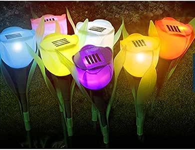 【 お庭 を かわいく オシャレに 演出 防犯 可能 】 LED ソーラー ガーデン ライト かわいい チューリップ 型 太陽光パネル 埋め込み 式 自動 点灯 4個セット【カラー:ランダム】