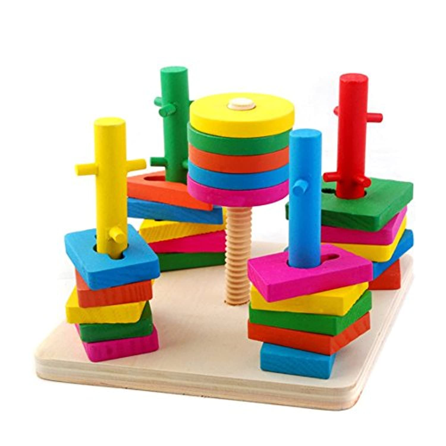 ANONE 25PCS Wooden Educational Sorting Stacking Toys Geometric Board Block Shapes Baby Learn Colour And Shape For Kids