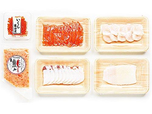 北海道お刺身セット(秋鮭スライス 刺身いか たこスライス 刺身帆立開き 鮭とろ いくら醤油漬け)特殊凍結製法 北海道産 海鮮海鮮丼 手巻き寿司 お寿司