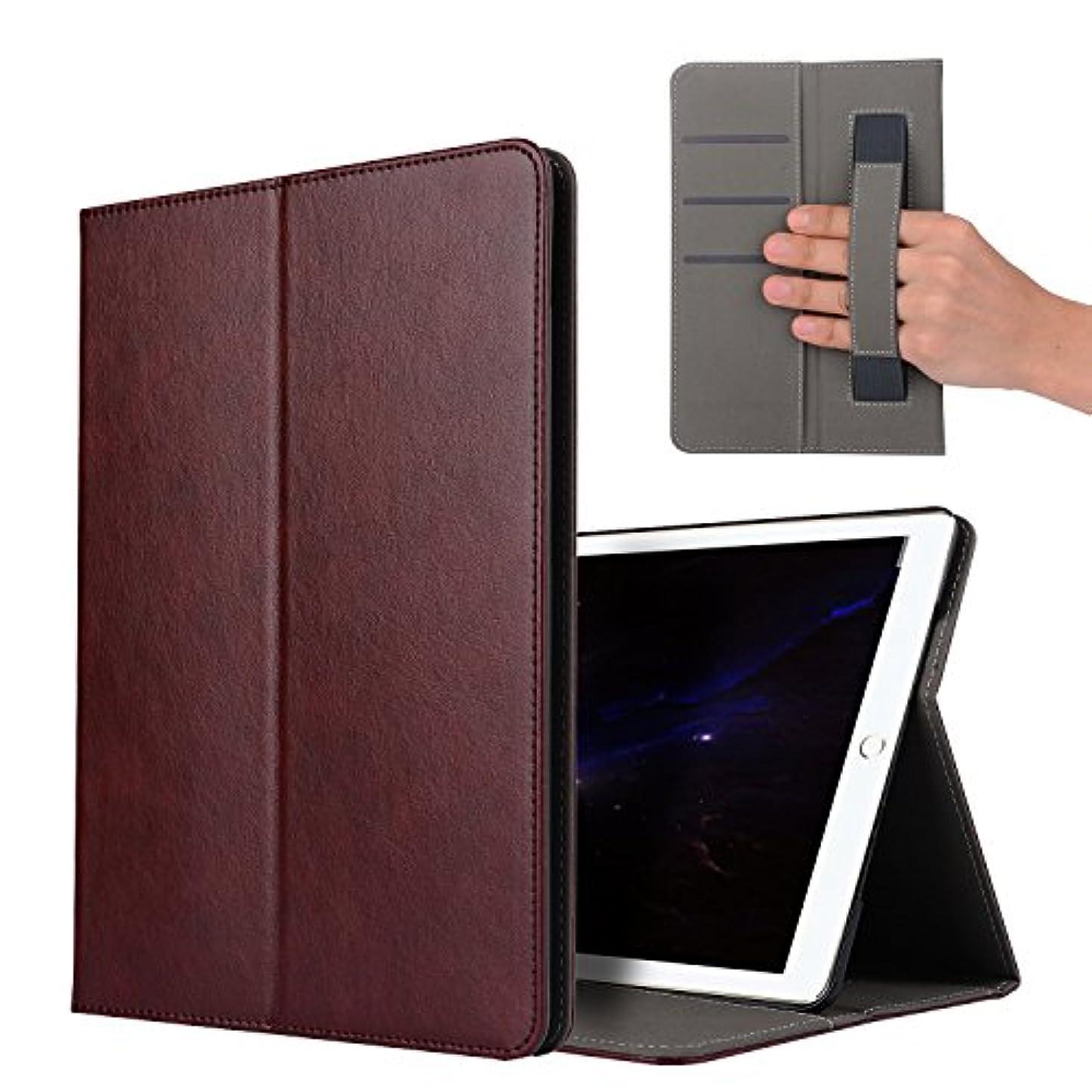 静脈アコード膿瘍【E-COAST】新型 iPad Pro 10.5 2017 専用ケース 保護カバー 二つ折畳式 ハンドストラップ付 スタンド可能 カードポケット付 多色選択可能 オートスリープ対応 液晶フィルム付 (ワインレッド)