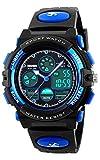 子供腕時計 ボーイズスポーツウォッチ アウトドア多機能防水 アラート 日付曜日表示 デュアルタイム LED アナログ表示 女の子男の子 デジタルウォッチ (ブルー)