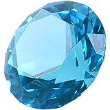多色透明 水晶 ダイヤモンド 60mm ペーパーウェイト ガラス 文鎮 装飾品 (藍色)