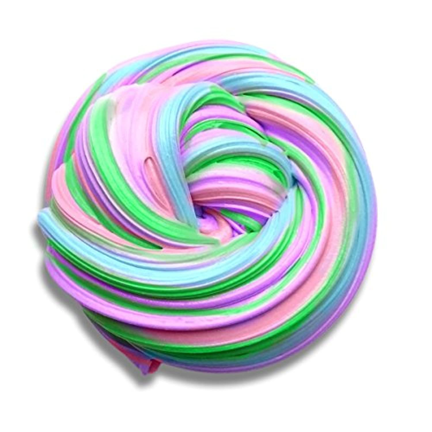 BORUD Fluffy Slime, Rainbow Slime Strees Relief Toy 4 Colours Super Soft Fluffy Floam Slime Non Toxic Stretchy and Slippery Slime - Ideal for Work, Office, Arts, Crafts, and School Projects