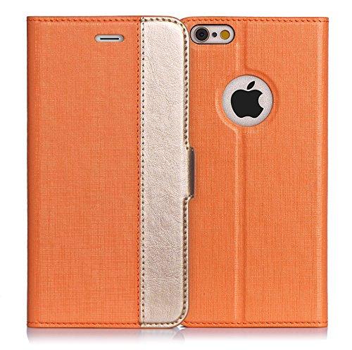 iPhone6s ケース iPhone6ケース ,Fyy ハンドメイド 良質PUレザーケース 手帳型 保護カバー カード収納ホルダー付き スタンド機能付 マグネット式 スマートフォンケース オレンジxゴールド