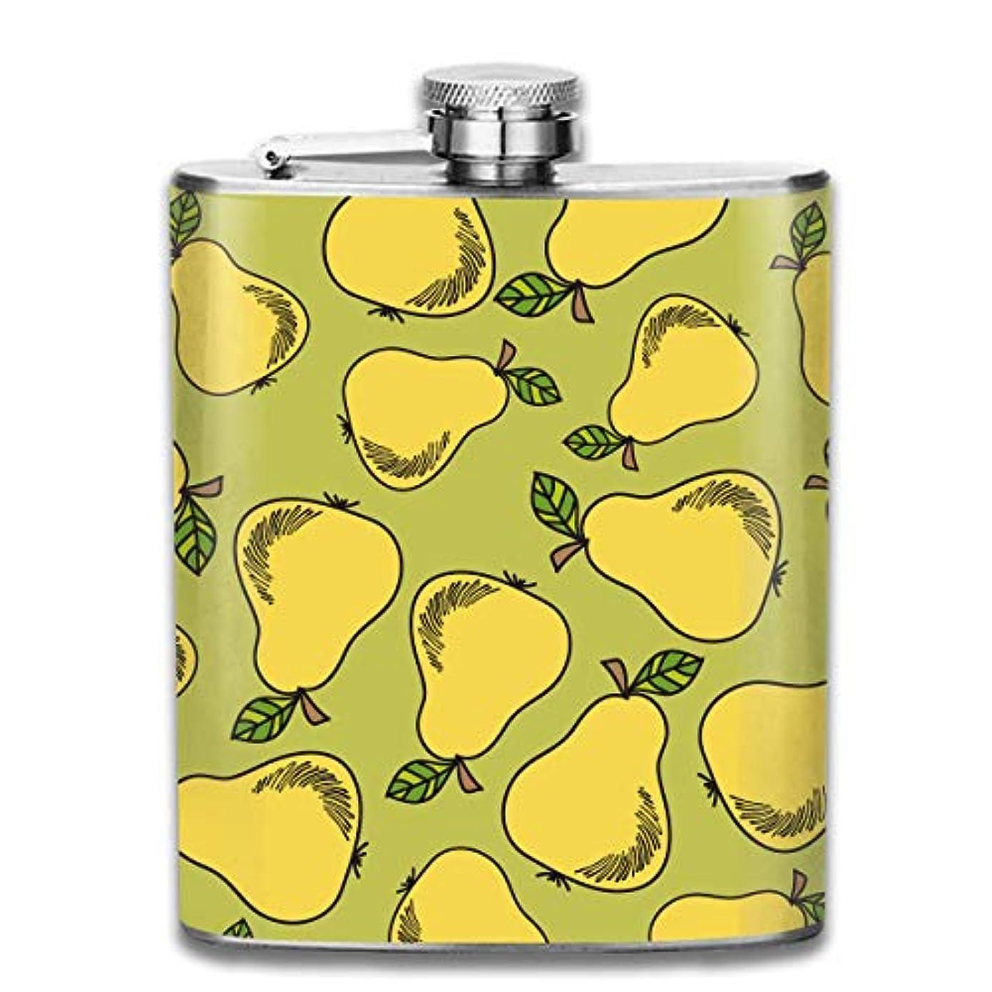 委任するテスピアン石化する黄色の梨フラスコ スキットル ヒップフラスコ 7オンス 206ml 高品質ステンレス製 ウイスキー アルコール 清酒 携帯 ボトル