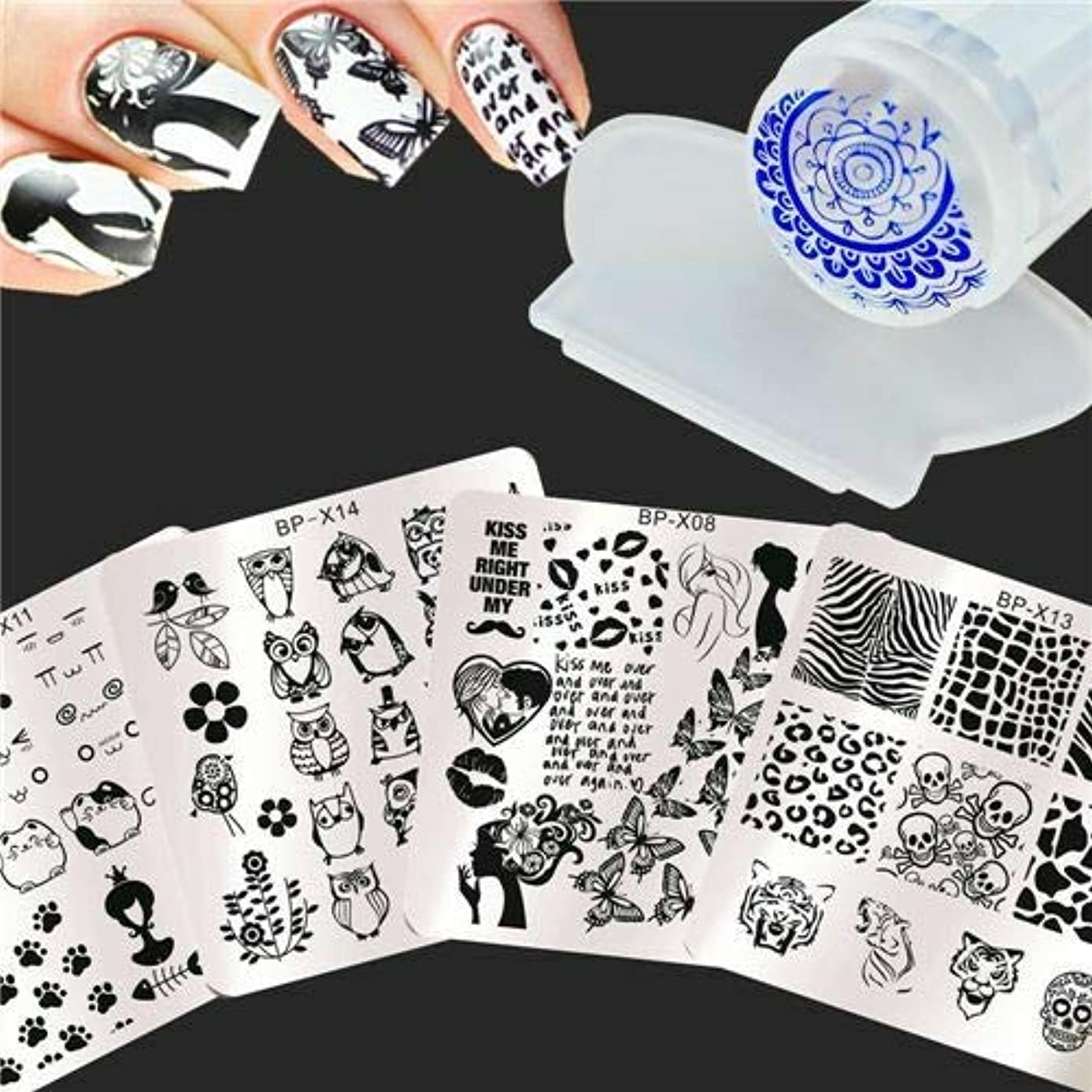 損なう頭蓋骨スタッフFidgetGear 6個/セットネイルアートスタンプイメージプレート猫動物デザインW/スタンパー&スクレーパーDIY