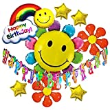 HOPIC 誕生日 飾り付け ガーランド バナー バルーン お祝い パーティー 部屋 アルミ 風船 バースデー 飾り フラワー