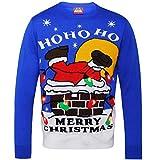 (クリスマスショップ) Christmas Shop ユニセックス 煙突に落ちるサンタ ライトアップ クリスマスセーター (2XL) (ブルー)