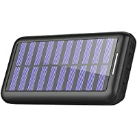KEDRON  モバイルバッテリー ソーラーチャージャー 24000mAh 大容量 電源充電可能 急速充電 2USB入力ポート(2.1A+2.1A) 3USB出力ポート(2.4A+2.4A+2.4A) 太陽光で充電でき Android/Apple/iPad等に対応 災害/旅行/アウトドアに大活躍 (black)
