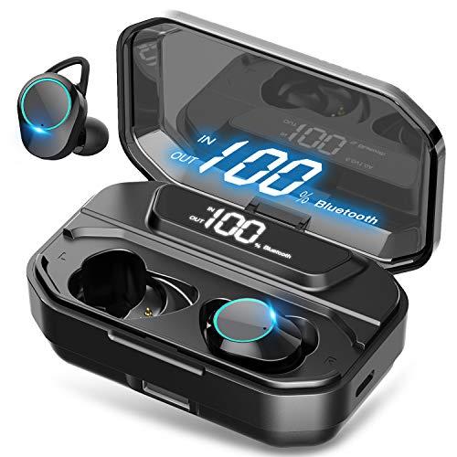 【最新版 LEDディスプレイ Bluetooth イヤホン 】ワイヤレス イヤホン 5000mAh 電池残量インジケーター付き イヤホン Hi-Fi 高音質 AAC対応 最新Bluetooth 5.0 +EDR搭載 完全ワイヤレスイヤホン 左右分離型 ブルートゥース イヤホン 自動ペアリング 音量調節可能 PSE認証済/技適認証済/Siri対応 /IPX7防水規格 /iPhone&Android対応 (ブラック)