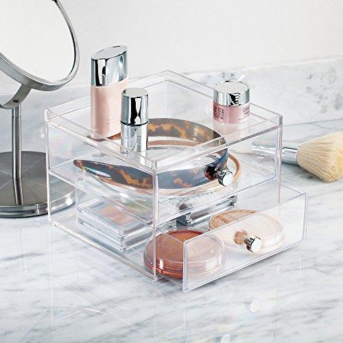 interDesign 化粧品 小物 収納 ボックス コスメ オーガナイザー 積み重ね 2段 Clarity クリア 36360EJ