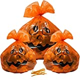 Gift Boutique プラスチックかぼちゃ ハロウィンリーフバッグ デコレーション 12パック L & S オレンジ 秋の葉 ゴミ袋 36 x 48インチ 24 x 30インチ 屋外の芝生や庭の装飾に