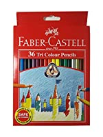 Faber - Castell色鉛筆36色三角形Tri /簡単グリップpre-sharpened forキッズと大人用カラーリングBook , Ideal forクリスマスギフト( Pack of 36)