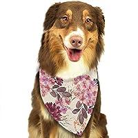 葉と花の水彩画 ペットバンダナ 犬用 猫用 アクセサリー スカーフ よだれカバー 洗いやすい 食事用 お散歩 お出かけ