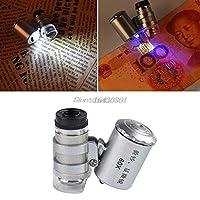 ミニ60x拡大鏡顕微鏡uv宝石商ルーペ通貨検出器でledライト