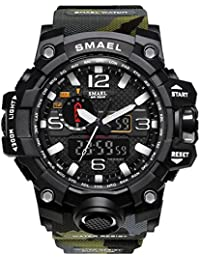 SMAEL ミリタリー 迷彩風 アナデジ 腕時計 メンズ 男性 アラーム クロノグラフ 多機能 スポーツ ウォッチ (グリーン)