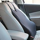uLife 腰痛 クッション 車 低反発クッション ランバーサポート 倒れず カーシートクッション カバー取り外し可 ドライブクッション(ブラック)