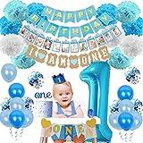 1歳誕生日パーティー飾り 男の子 ブルー ベビーシャワー 100日 バナー ケーキトッパー ペーパーフラワー 王冠 数字バルーン 紙吹雪入れ風船 40セット