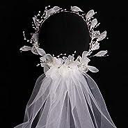 レディウェディングベール、ブライダルベール、ロングフロアベールレース、バシュロレットパーティーベール刺繍花嫁用品ウェディングアクセサリー大聖堂ロングウエディングドレス、白、単層、50cm、リース付き