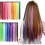 Qingjun Colored Clip in Hair Extensions 22inch Rainbow Heat-Resistant Straight Hairpieces Cospaly Fashion Party Kids Girls 24 Color in 24 pcs