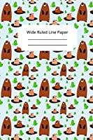 Cute Groundhog Day Theme Wide Ruled Line Paper