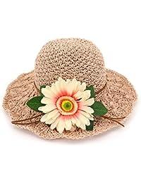 Ruiyue 夏ストロー帽子、ワイド縁取り帽子春夏花ストロー手作りビーチハット女性のための