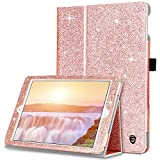 iPad 9.7 2018/2017 Case, DUEDUE Glitter Bling PU Leather Folio Stand Smart Cover Stylus Holder Auto Sleep/Wake Kickstand Feature Cases Apple iPad 6th / 5th Gen 9.7 Inch Tablet, Rose Gold
