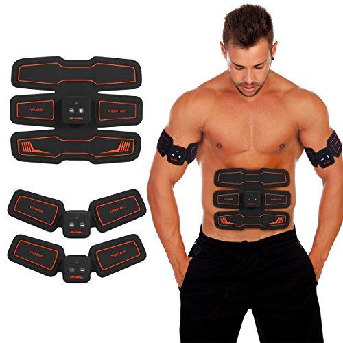 HURRISE ems 筋トレ 腹筋ベルト ボディフィット 筋肉トレーニング器具 筋トレマシン お腹 腕部 太ももエクササイズ用 ダイエット器具 薄型軽量 強さ15段階調節 6モード USB充電式 男女兼用