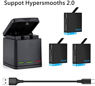 REYGEAK GoPro Hero 8black/Hero 7black/Hero 6/Hero 5/gopro hero用互換バッテリー3個 ボックス収納式 USB充電器付き 3個バッテリーケース付き Type-Cインターフェイス 3個同時充電可能 (充電器+3バッテリー+type-c)