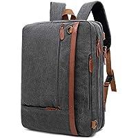 CoolBELL Convertible Backpack Shoulder bag Messenger Bag Laptop Case Business Briefcase Leisure Handbag Multi-functional Travel Rucksack Fits 17.3 Inch Laptop For Men / Women (Canvas Dark Grey)