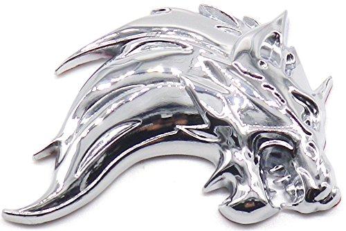 3D 立体 ステッカー ウルフ 狼 オオカミ エンブレム 金...