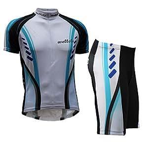 Wellcls サイクルウェア 半袖 上下セット 自転車 サイクリング サイクルジャージ (ブルー, L)