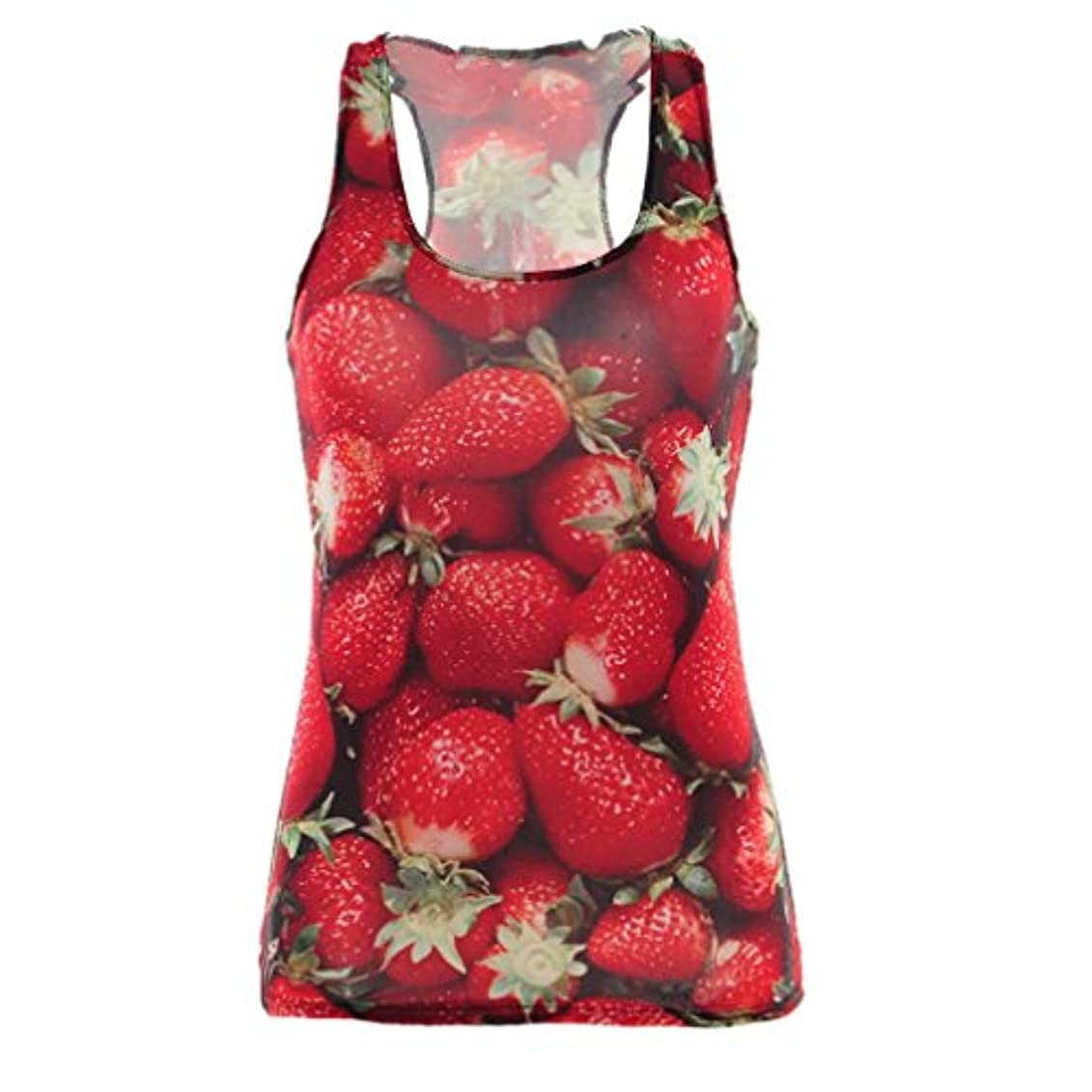 感嘆まあ真似る(ビグッド)Bigood プリントノースリーブTシャツ タンクトップ カットソー レディース インナー ダンス ウェア フィットネス イチゴ