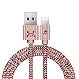 ライトニングケーブル microusbケーブル 高速充電ケーブル 高耐久ナイロン 高速データ通信対応 iPhone/iPad/iPod対応のlightning usbケーブル コンパクト かわいい(豚, ピンク)