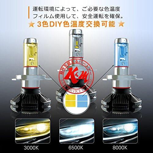 K&M NISSAN マイクラC+C H19.6~ K12 - ヘッドライト ロービーム 【H4】 2個入り ☆PHILIPS LUMILEDS LEDチップ H4 HI/LO DIY色温度交換シート付 最高級パフォーマンス 12V 24V 6500K(車検対応)
