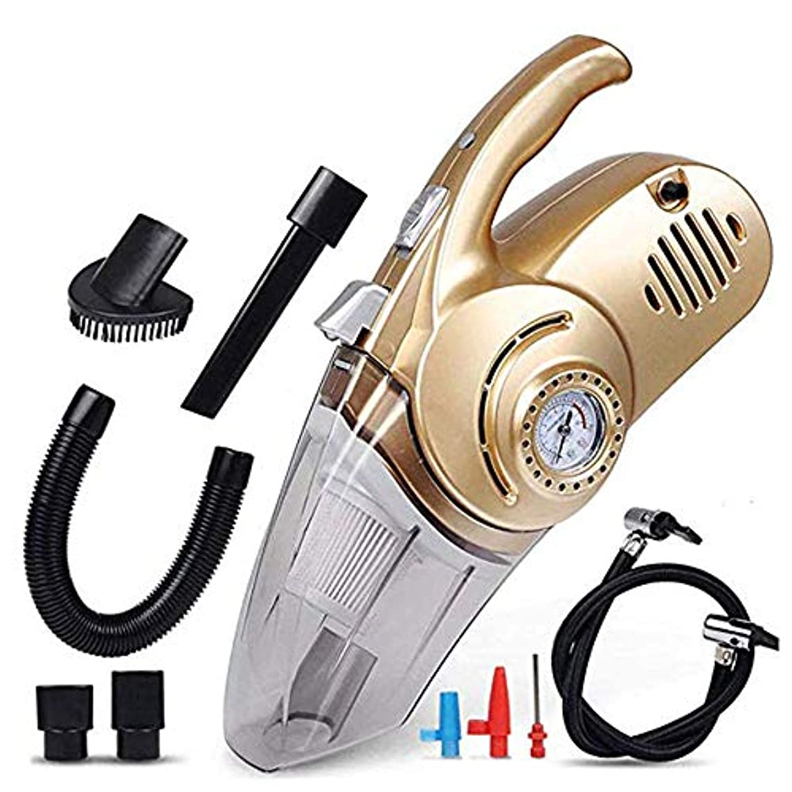 鉄後継農業の車用掃除機、4 in 1車用エアポンプ12V乾湿両方の照明高出力ポータブルハンドヘルドミュート家庭、床、カーペット、人のペットの髪に最適