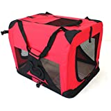 Pet Travel Carrier Soft Crate Portable Puppy Dog Cat Kitten Cage Kennel Home House Red (Large 70x50cm)