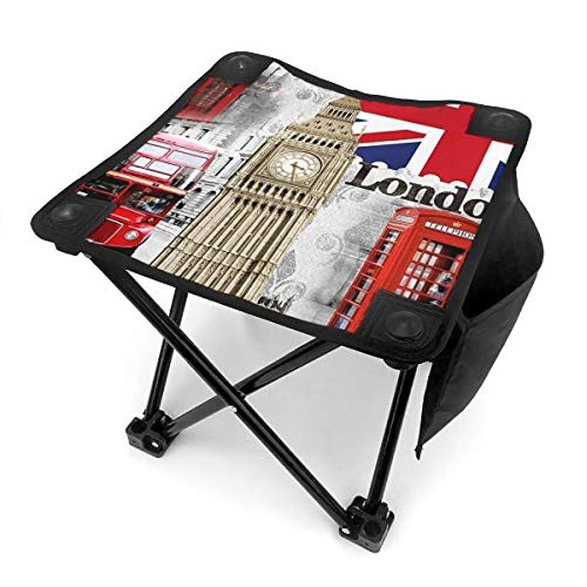 思い出させるペンフレンド毎回ロンドンイングランド都市ランドマークレトロ キャンプ用折りたたみスツール アウトドアチェア 折りたたみ コンパクト椅子 折りたたみスツール 小型スツール 収納袋付き 持ち運びが簡単 耐荷重100kg