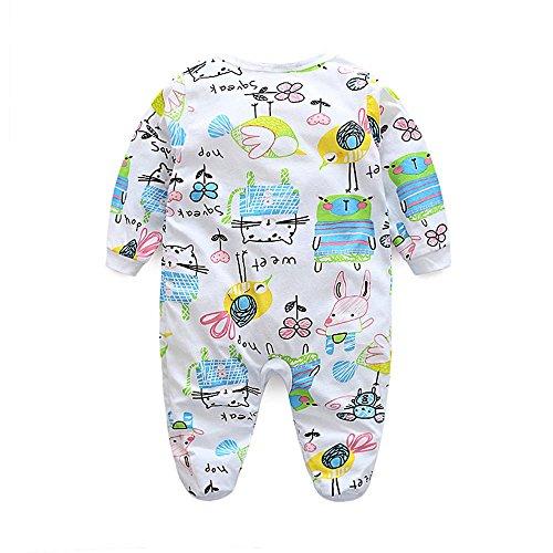 Karchi 幼児 赤ちゃん 男の子 女の子 ングスリーブ グラフィティ プリント ロンパー ジャンプ スーツ 洋服 (80, グリーン)
