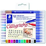 STAEDTLER double ended calligraphy markers, calligraph duo, for narrow and broad lettering designs, pigmented ink, 12 assorted colors, 3002TB12LU