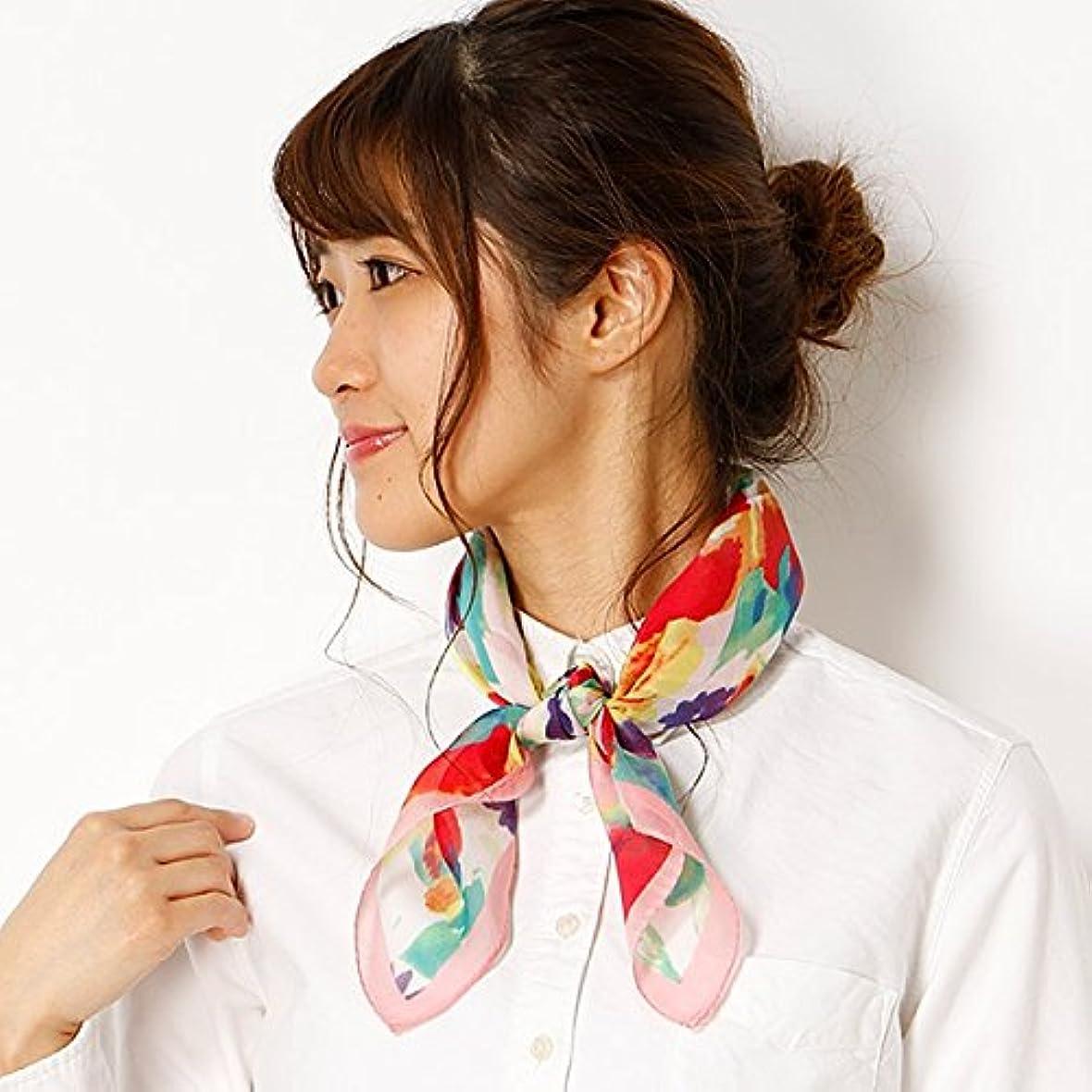 流産アラスカ居住者ミックス ファクトリー(mix factory) 【手洗いOK】フラワープリントプチスカーフ