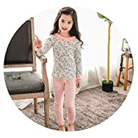 女の子のパジャマの子供たちの家のサービス秋と秋の綿の女の子の春と秋の女性の赤ちゃんのエアコンのスーツの子供の長袖,緑の芝生の花,130cm
