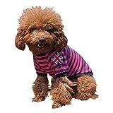 (ワボーズ) Waboats ペット服 ペット用品 ボーダー ペット わんちゃん ウェア ストライプ 犬の服 小型犬 中型犬 4色5サイズ選べる ローズレッド L